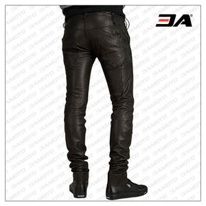 UNIQUE PANELED LEATHER PANT FOR MEN
