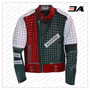 Unique Design Full Studded Biker Leather Coat Jacket Multicolor Custom Made - 3A MOTO LEATHER