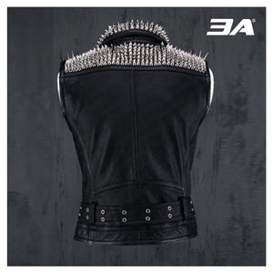 VEST JACKET HANDMADE Men Black Punk Silver Long Spiked Studded Leather Buttons Up Vest Silver Studs and Spikes Black Leather Studs Spike