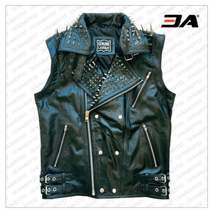 VEST JACKET HANDMADE Men Black Punk Silver Long Spiked Studded Leather Buttons Up Vest Silver Studs and Spikes Black Leather Studs Spike - 3A MOTO LEATHER