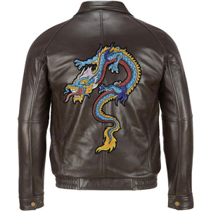 Wilsons Leather Contemporary Lamb Bomber Jacket with dragon embroidery - 3amoto