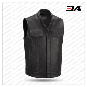 Leather Cycle Performance Patchwork Leather Vest-Wilsons Replica