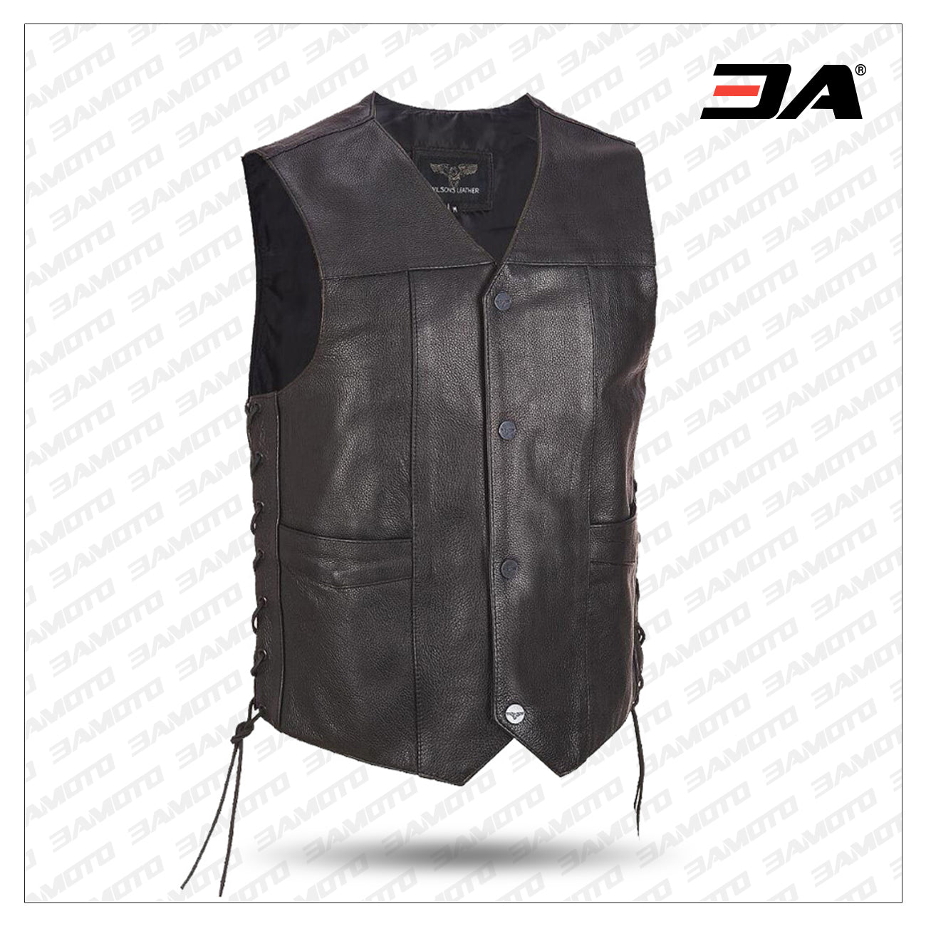 Black Leather Motorcycle Vest 16 Patches Conceal Carry Harley Rider Biker