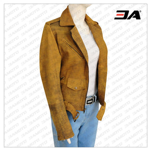 WOMEN DISTRESSED BROWN LEATHER JACKET - 3A MOTO LEATHER
