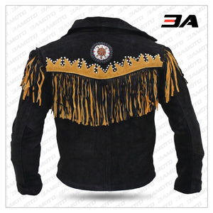 Western Leather Indian Western Carnival Fasching Jacket Color Black