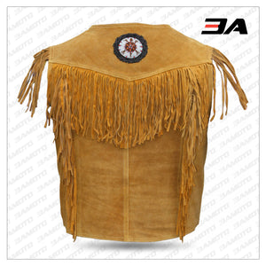 Western Leather Vest Indian Western Carnival Fasching Jacket Color Ocher