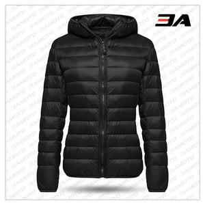WOMEN HOODED DOWN JACKET PUFFER BUBBLE COAT PACKABLE LIGHT PARKA