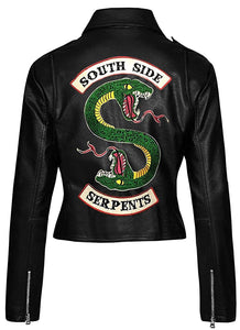 Womens Riverdale Black Genuine Leather Jacket Southside Serpents - 3amoto