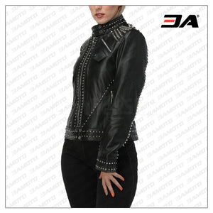 Women Black Studded Leather Jacket