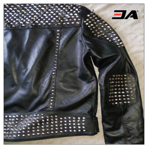 Women Fashion Studded Punk Rock Leather Jacket SJW119