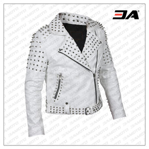 Women White Leather Jacket With Cone Tree Spikes