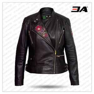Women's Black Printed Leather Biker Jacket