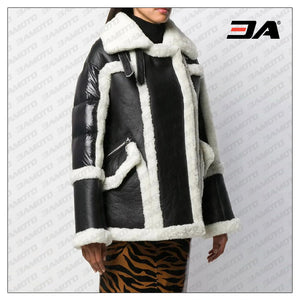 Womens Black and White Shearling Lined Coat