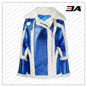 Womens Blue & White Metallic Moto Coat