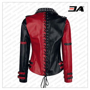 Womens Studded Leather Jacket - Handmade Punk Black & Red Studded Style Biker Silver Studs Spiked Jacket - 3A MOTO LEATHER