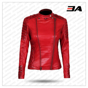 Womens Red Leather Motorcycle Jacket
