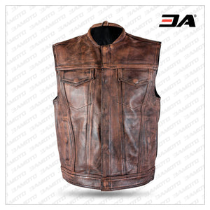 Men's Distressed Brown Leather Premium Cowhide Vest
