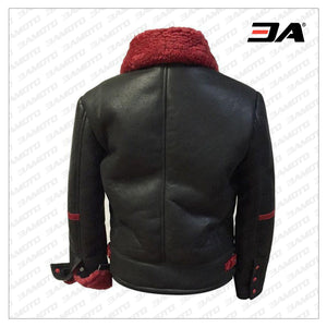 Aviator Red Black Shearling Leather Fur Jacket - 3A MOTO LEATHER