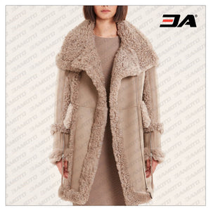 Beige Shearling & Fur Leather Jacket - 3A MOTO LEATHER