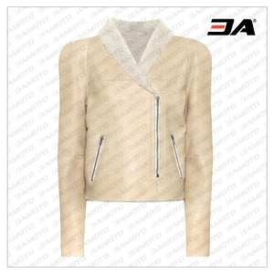 Beige Shearling Leather Fur Biker Jacket - 3A MOTO LEATHER