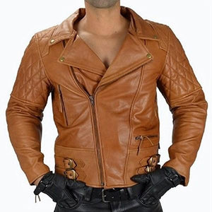 Biker Jacket Men's Motorcycle Quilted Leather Jacket - 3amoto