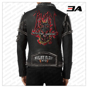 Biker Studded and Doberman Embroidered Leather Jacket - 3A MOTO LEATHER