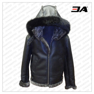 Black Aviator Shearling Jacket - 3A MOTO LEATHER