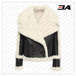 Black Double Breasted Shearling Fur Jacket - 3A MOTO LEATHER