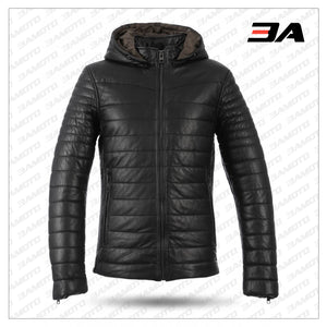 MEN BLACK WINTER WARM ZIPPER PADDED DOWN JACKET