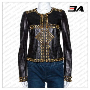 Black Embossed Leather Studded Zip Front Jacket - 3A MOTO LEATHER