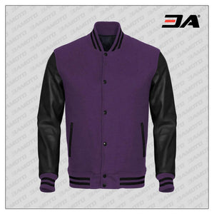 Black Faux Leather Sleeves Purple Wool Varsity Jacket