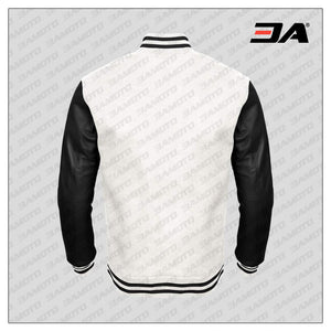 Black Faux Leather Sleeves White Wool Varsity Jacket