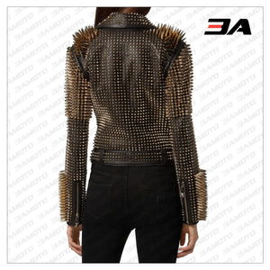 Black Leather Golden Spike Studded Punk Style Biker Jacket - 3A MOTO LEATHER