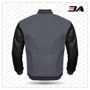 Black Leather Sleeves Gray Wool Varsity Jacket - 3A MOTO LEATHER