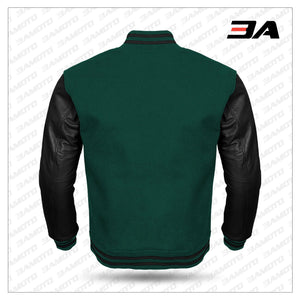Black Leather Sleeves Green Wool Varsity Jacket