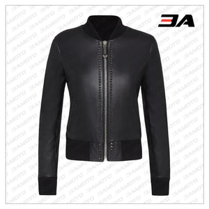 Black Leather Studded Bomber Jacket - 3A MOTO LEATHER