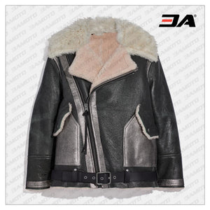 Black Oversized Shearling Aviator Fur Jacket - 3A MOTO LEATHER