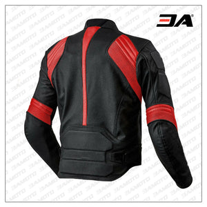 Black Red Motorcycle Front Zip Real Leather Safety Pad jacket