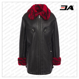 Black Shearling Trimmed Textured Leather Jacket - 3A MOTO LEATHER