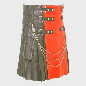 BLACK LEATHER KILT WITH RED APRON