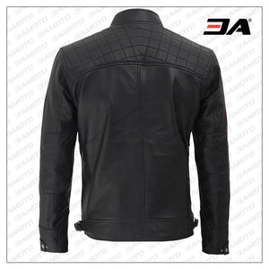 Johnson Diamond Classic Black Cafe Racer Biker Jacket