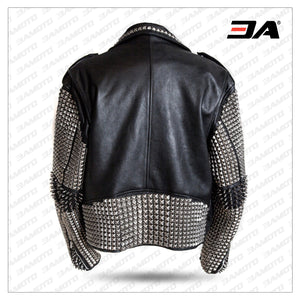 Men Punk Style Studded Real Leather Jacket Biker Rock Design Leather Jacket