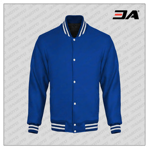 Royal Blue Cotton Fleece Varsity Jacket