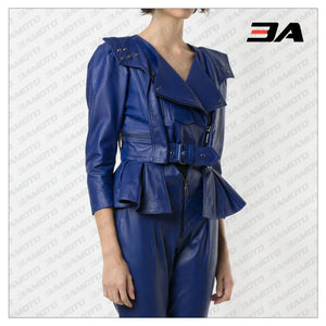 Blue Cropped Leather Peplum Biker Jacket - 3A MOTO LEATHER