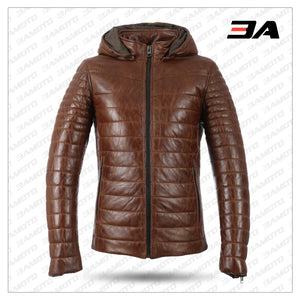 MEN BROWN WINTER WARM ZIPPER PADDED DOWN JACKET