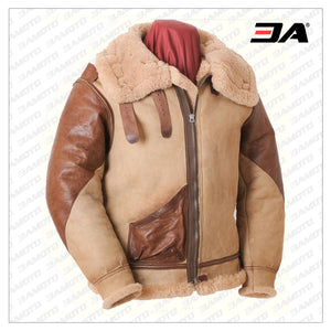 Brown Flying B-3 1937 Shearling Fur Leather Jacket - 3A MOTO LEATHER