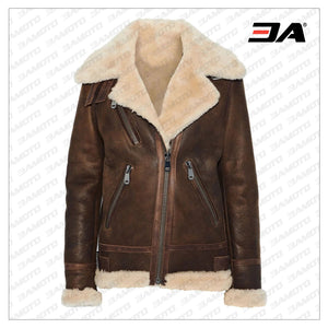 Brown Leather Trimmed Shearling Fur Biker Jacket - 3A MOTO LEATHER