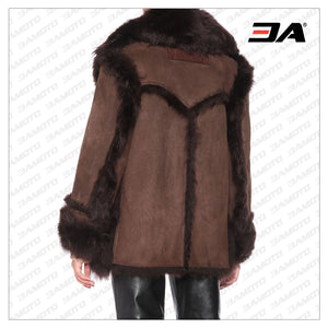 Brown Shearling Leather Fur Coat - 3A MOTO LEATHER