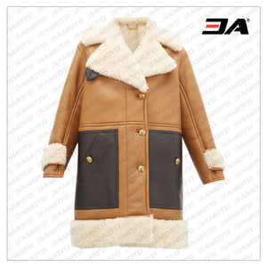 Brown Shearling Leather Panelled Fur Coat - 3A MOTO LEATHER
