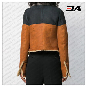 Brown Suede Lamb Fur Oversized Jacket - 3A MOTO LEATHER